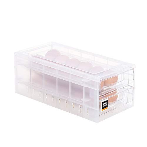 Cajón dispensador de huevos Assr, 24 rejillas de doble nivel, bandeja para huevos, refrigerador, contenedor apilable, caja de plástico transparente