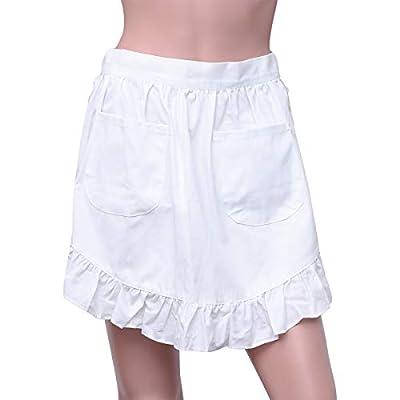 UPKOCH Spitzen-Schürze für Damen, halbe Schürze mit Taschen, Baumwolle, Küchenschürze für Haushälterin (weiß)