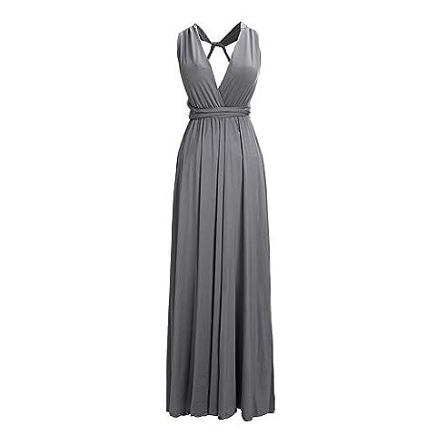 Womens Sexy Cotton Long Evening Dress Floor-length multi-way 1 piece dresses (Gray,S)