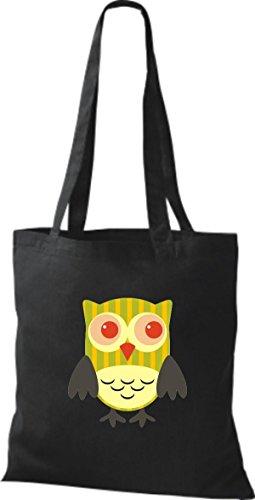 schwarz ShirtInStyle streifen Retro diverse Punkte Tragetasche Karos Farbe mit Jute Bunte Owl Stoffbeutel Eule niedliche 1w6P1Fqr