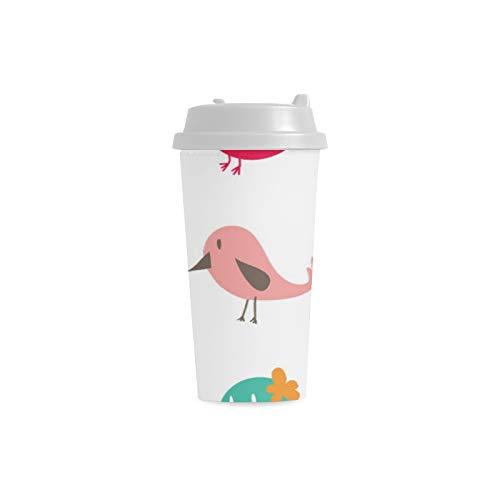 doppelte Flügel Gewohnheit 16 Unze doppelwandige Plastikisolierte Sport Wasser Flaschen Becher Pendler Reise Kaffeetassen für Studenten Frauen Milch Teetasse Getränk ()