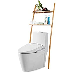Étagère de rangement pour salle de bains en bambou avec 2 étagères - 173 x 66 x 25 cm, marron