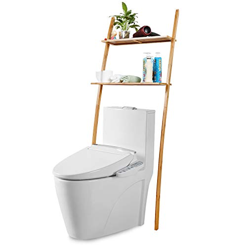 Toilettenregal Waschmaschinenregal platzsparendes Badregal aus Bambus, Bad WC Regal Lagerregal mit 2 Ablagen - 173 x 66 x 25 cm