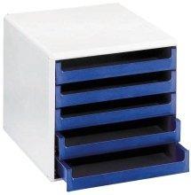 Preisvergleich Produktbild VOSS 30050911 Schubladenboxen - A4, 5 offene Schubladen, hellgrau/blau