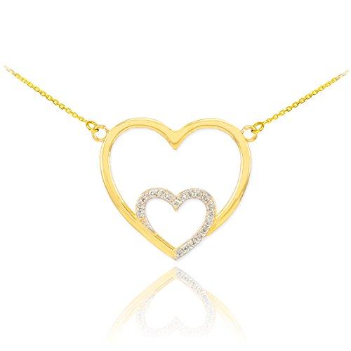 10 Karat 14k Gold Doppel-Herz-Halskette
