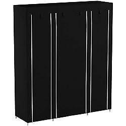 SONGMICS Armoire de Rangement XXL, Penderie Dressing en Tissu Non-tissé, 175 x 150 x 45 cm, Noir LSF03H