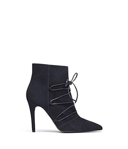 PoiLei Mila - Damen-Schuhe/Elegante, Spitz-Zulaufende High-Heel Schnür-Stiefelette Aus Echt-Leder - Ankle-Boot mit Stiletto Absatz und Front-Schnürung - Dunkelblau (Boots Ankle Leder Echt)