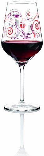 Ritzenhoff Red Rotweinglas von Michal Shalev, aus Kristallglas, 580 ml, mit edlen Platinanteilen