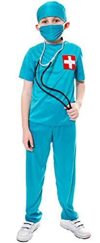 Fancy Me Jungen Kinder Arzt Pflegepersonal Er Uniform Verkleidung Kostüm Kleid Outfit - Grün, 10-12 Years