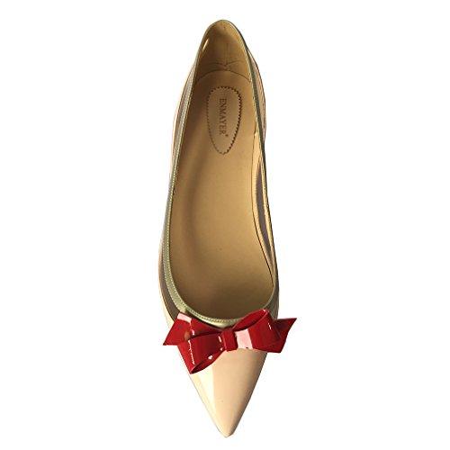 ENMAYER Femmes en PU Matériaux Couleurs mélangées Talons bas Pointe orteil Noeud noire Manche à glissière Doux Robe décontrachée Chaussures peu profondes Abricot