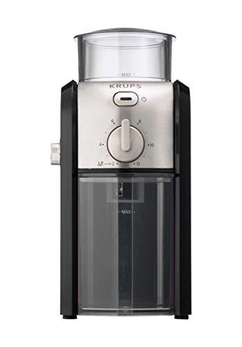 Krups GVX243 Molinillo de café profesional con sistema de muelas con torno-molido y 17 ajustes de triturado, de más fino a más grueso 100 W, Negro cromo