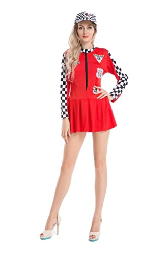 CLUBCORSETS Ladies Formula One Racer Pit Girl Fancy Dress Brolly Dolly Outfit Various Colours (2XL, (Racer Girl Kostüm)