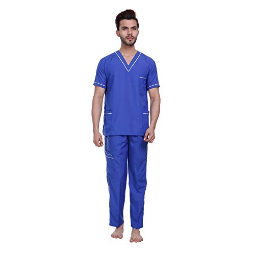 Proexamine Surgicals® Unisex Scrub Suit set with piping V-Neck 3 Pocket Top and Cargo Type Trouser (40-L, Royal Blue)