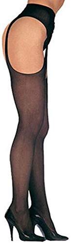 Leg Avenue Damen Strumpfhalter Strumpfhose 20 DEN Nylon Schwarz Offener Zwickel Einheitsgröße 36 bis 40