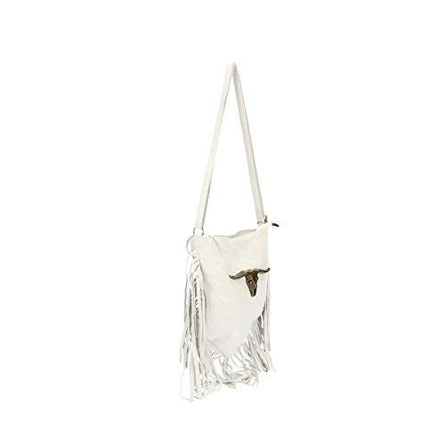 Chicca Borse Borsa a tracolla in pelle 21x24x2 100% Genuine Leather Bianco