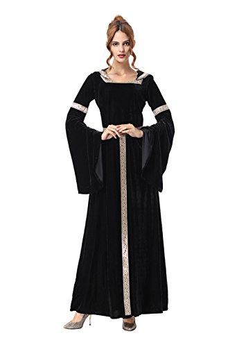 Viktorianischen Adult Vampir Kostüm - COUCOU Age Viktorianisches Kleid Kostüm Kapuze Hexe Vampir Kostüm Trompete Ärmel Schwarz