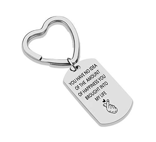 Anwaz Schlüsselanhänger aus Edelstahl, Graviert You Have no idea of The Amount of Happiness Anhänger Silber Fahrzeugschlüssel Schlüsselschilder Für Frauen Männer Stil B -