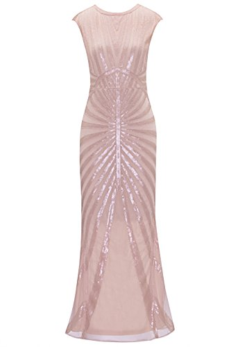 Kostüm Rosa Kleid - Metme 1920s Kleid Damen Maxi Lang Vintage Abendkleid Gatsby Party 20er Jahre Flapper Kleid Damen Kostüm Kleid, Rosa, XS, EU36