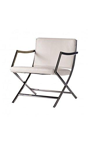 CAMINO A CASA - Fauteuil Design Effet Cuir Blanc et Chrome Glam