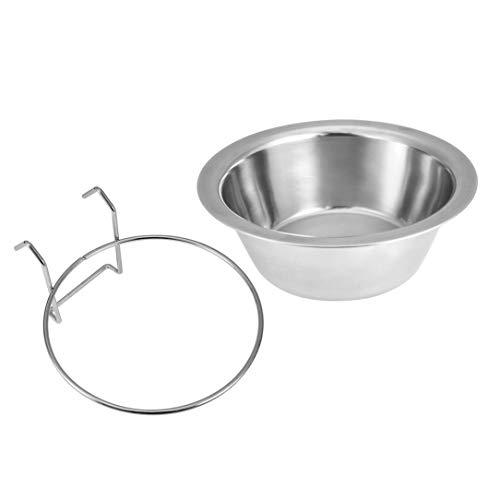 Monllack Edelstahl-Haustier-Hundeschüssel Speisen Trinkwasser Cage Cup Hanger Nahrungsmittelwasser-Schüssel Reisenapf für Pet Feeding Werkzeuge
