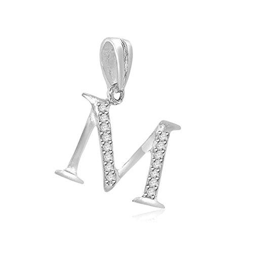 0.05ct F/VS1 M' Buchstabe Diamant Anhänger für Damen mit runden Brillantschliff diamanten in 18kt (750) Weißgold mit Halsband