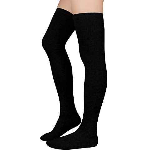 Durio Kniestrümpfe Damen Overknee Strümpfe Extra Lang Overknee Socken College Über-knie Strümpfe Mädchen Cheerleader Sportsocken A-Schwarz