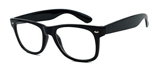 KULT ! klassische Nerdbrille Streberbrille 50er 80er Jahre Klarglas Fashion Brille WN32 (Schwarz)