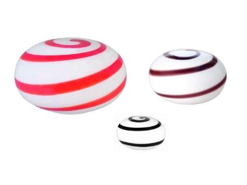 Bella-Vita Dapo Tischleuchte Glas Kugelleuchte oval Spirale rot-orange-weiß D13 cm kugelförmige Tischlampe, Bodenleuchte, Fensterbank Leuchte, Nachttisch Leuchte