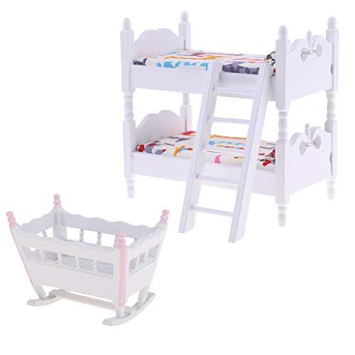 Fenteer 1/12 Puppenhaus Kinderzimmer Miniaturmöbel Etagenbett mit Matratz und Babybett Wiege Möbel Modell in Europäische Stil (Puppenhaus Etagenbett)