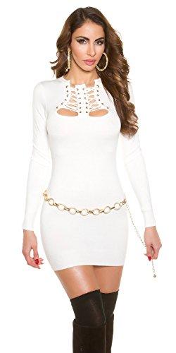 Feinstrick Kleid mit Schnürung Weiß