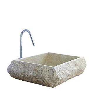 Lujosa crema de lujo con forma cuadrada, mármol sólido, vanidad, encimera, lavabo, fregadero de baño con textura orgánica beige, ancho 50 cm, diámetro 40 cm, altura 13 cm – Cemlux