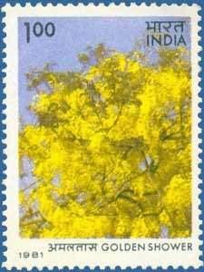 Sams Shopping Flowering Trees - Golden Shower Flower Tree Cassia Fistula State Flower National Tree National FlowerRs 1 Stamp -