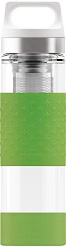 SIGG Hot & Cold Glass Green, 0.4 L, Doppelwandige-isolierte Glas Trinkflasche mit Silikonschutz, BPA Frei, Grün - Isolierflasche Glas