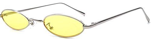 J&L GLASSES Retro Klassisches Sonnenbrillen Brille mit Fensterglas Damen Herren Brillenfassung UV-Schutz, Sonnenbrillen Unisex Modische Fahrer für Golf, Autofahren, Outdoor Sport (Yellow,Silver)
