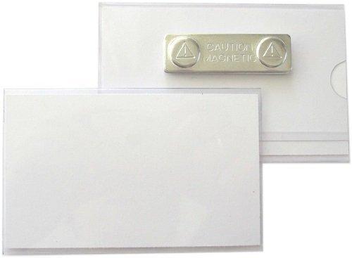 5 Stück Namensschilder, Ausweishüllen aus Hart-PVC mit Magnet 90x55 mm (Kleidung Harte)
