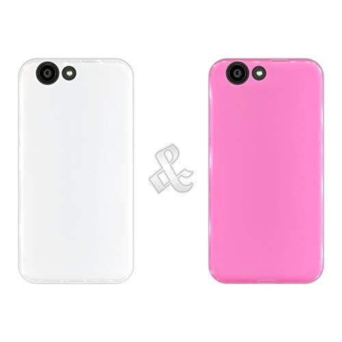 Pack [2 Stück] Hülle [Klar + Pink] für [ZTE Blade A512], Handyhülle Silikon Flexibel Gel, Stoßfest, Harte Schutzhülle, Schutz vor Kratzer & Staub