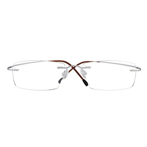 LianSan titanium Rimless reading glasses men women's reading eyeglasses super light Sun Readers reading glasses Sunglasses lmo-013 (+3.00, silver) by LianSan
