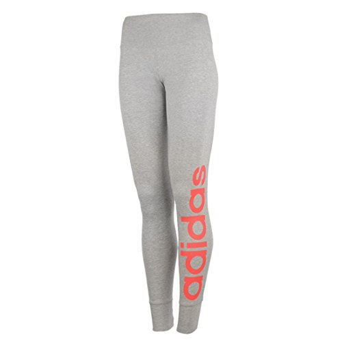 adidas Damen Tights Essentials Linear, Grau (Medium Grey Heather/Shock Red S16), M, AJ4595 (Climalite-pack)