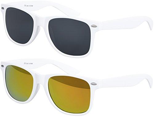Original Balinco UV400 CAT 3 CE Vintage Unisex Retro Wayfarer Sonnenbrille - verschiedene Farben in Einzel - Doppelpack & Dreierpack wählbar (Doppelpack - Rahmen: Weiß matt, Gläser: 1 x Schwarz, 1 x Rot verspiegelt)