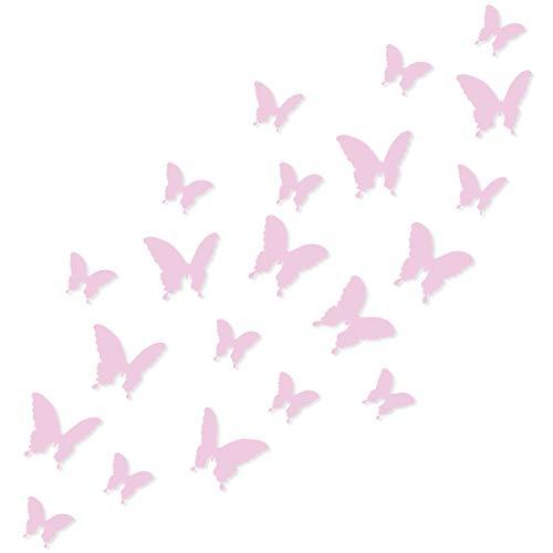 Wandkings 3D Deko Schmetterlinge - Wähle eine Farbe - Rosa - 120 Stück - mit Klebepunkten zur Fixierung