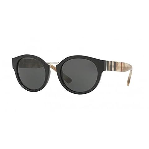 Burberry Unisex Sonnenbrille BE4227, Schwarz (Gestell: Schwarz, Gläser: Grau 360087), Small (Herstellergröße: 50)