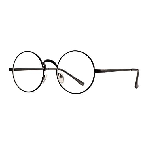 Tianzhiyi Runde Brille Runde Retro Brille Metallrahmen klare Linse Vintage Plain Brille Eyewear Geek Brille Decor Brillen für Männer und Frauen - Silber (Color : Schwarz)