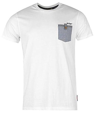 Mens Short Sleeves Chambray Pocket Tee Shirt Top (XX-Large,