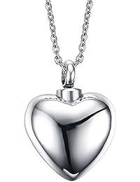 Vnox Collar conmemorativo del colgante de la ceniza del encanto del corazón de la urna de la cremación del recuerdo del acero inoxidable,grabado libre