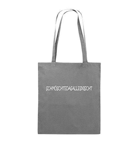 Comedy Bags - SCHMÖSCHTEDASALLESNISCHT - Jutebeutel - lange Henkel - 38x42cm - Farbe: Schwarz / Silber Dunkelgrau / Weiss