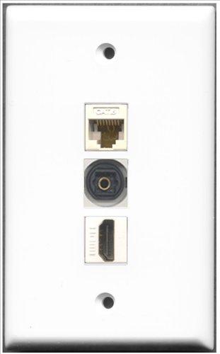 RiteAV–1Port HDMI und 1Port Toslink und 1Port Cat. 6Ethernet weiß Wall Plate