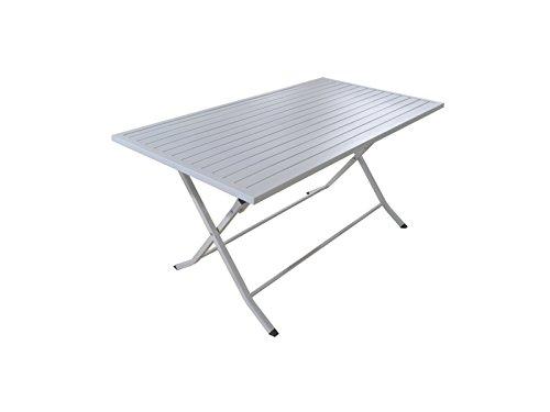 Table pliante en aluminium coloris blanc - Dim : 140 x 80 cm - PEGANE -