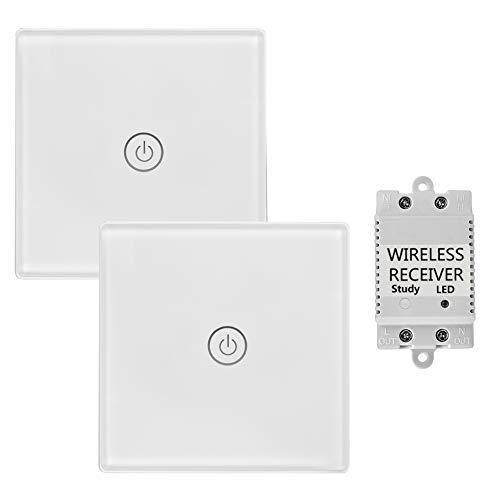 town sister Hause Büro Weiß Touch Funkschalter mit Empfänger mit LED Anzeige Licht - Fernbedienung Multi-Einheit Lampen Touch Lichtschalter - Belastbarkeit Max 2000W (Dual Funkschalter 1-Wege) -