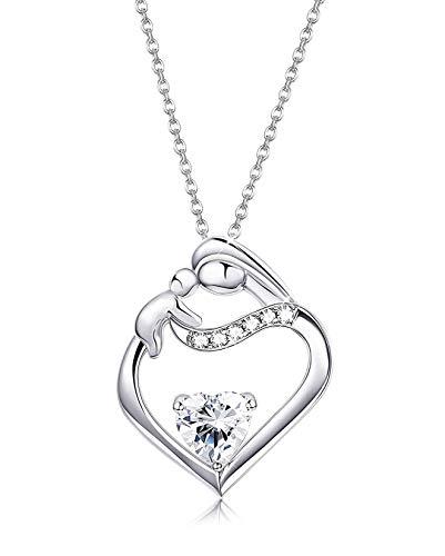 Sailimue 925 argento sterling pendente collana cuore per donne collana festa della mamma regali natale