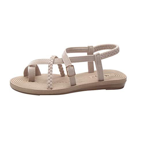 ODRD Sandalen Shoes Flache untere römische Sandalen der Sommerfrauen Wilde Kreuzgurte Klippzehe-Strand-Schuhe Schuhe Strandschuhe Freizeitschuhe Turnschuhe ()
